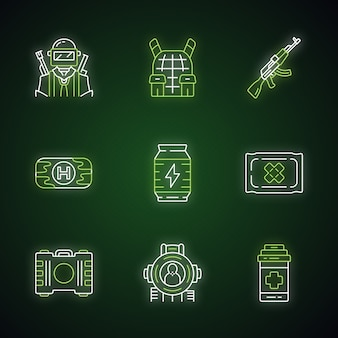 Online game inventory neon light icons set. esports, cybersports. soldier, body armor, weapon. first aid, energy drink, bandage, painkiller, shooting aim. glowing signs.