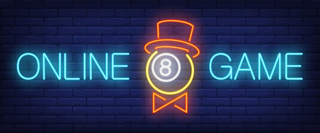 Online game neon text with ball in hat