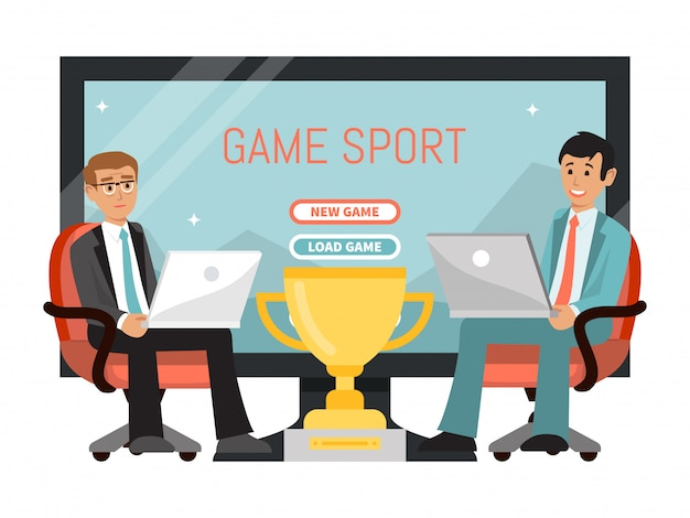 Online game sport concept, character male play laptop championship esports tv show isolated on white,   illustration.