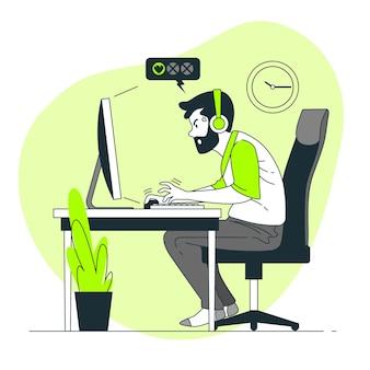 온라인 게임 중독 개념 그림