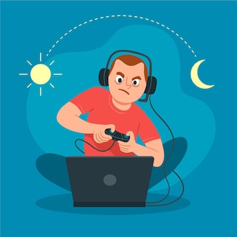 Online games addiction concept illustration