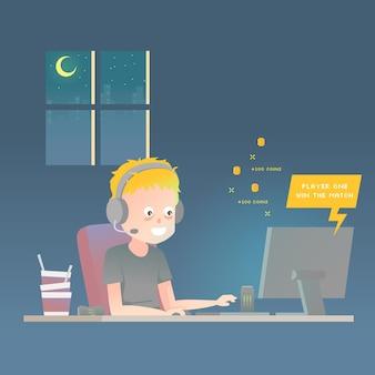 Иллюстрация наркомании онлайн-игр при мальчик играя