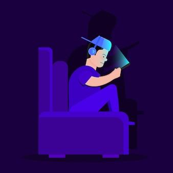 Иллюстрация наркомании онлайн игр с игрой характера