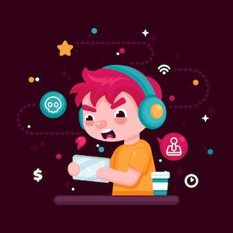 Online games addiction illustration