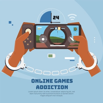 Online games addiction with handcuffs