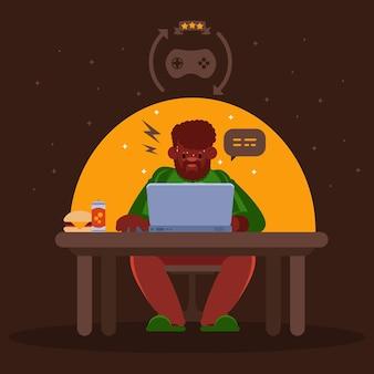 Online games adiction concept