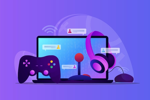 Online games concept illustration with computer