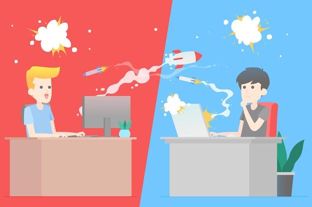 Иллюстрация концепции онлайн-игр с игрой друзей