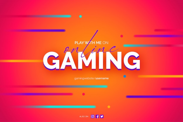 Online gaming background with neon lines