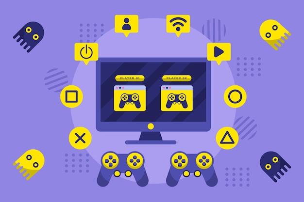 Иллюстрированная концепция онлайн-игр