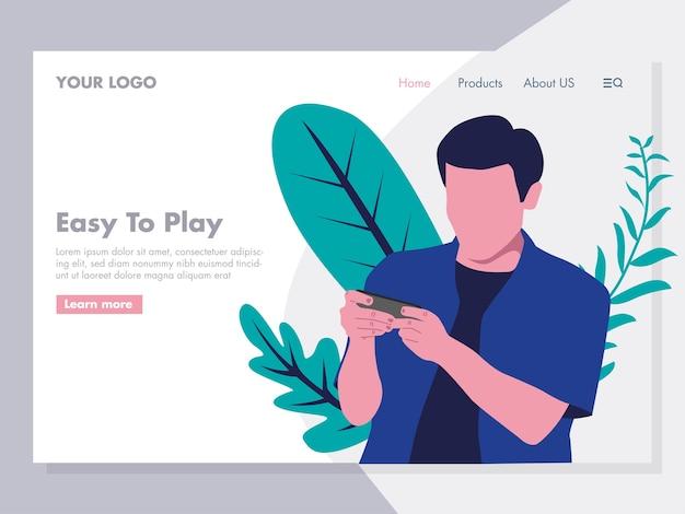 Online gaming illustration for landing page