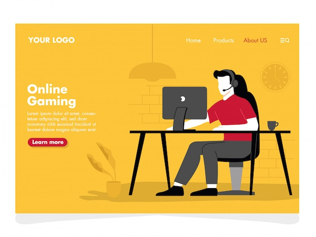 Online gaming illustration for landing page