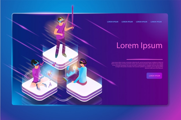 Online gaming in virtual reality vector web banner