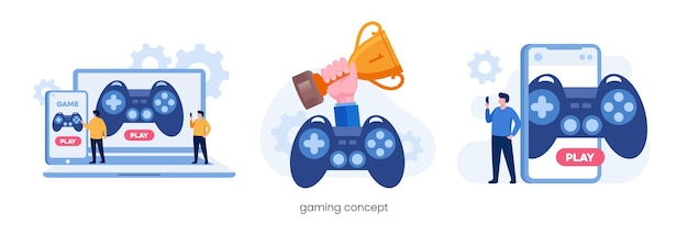 Online gaming with gadget. e-sport technology. flat vector illustration