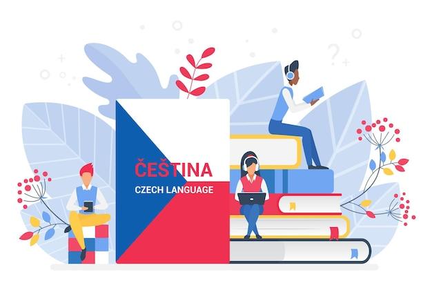 Online german czech language courses remote school or university concept