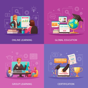 Online global education programs compositions set in flat style