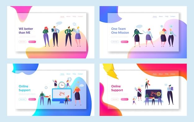 Целевая страница набора концепции глобальной технической поддержки в интернете. говорящая мужская и женская работа в команде персонажей в офисном костюме. работайте вместе в поисках новой идеи. работа в команде плоский мультфильм векторные иллюстрации