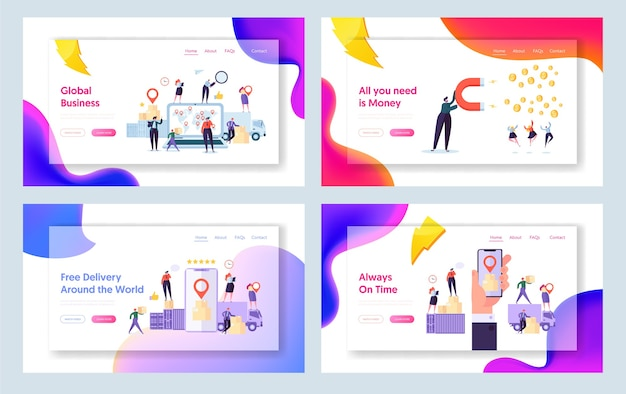 オンライングローバルワールドデリバリーコンセプトランディングページセット。スマートフォンアプリケーションでオンラインの人々のキャラクター追跡パッケージ。ワールドワイドロジスティックwebサイトまたはwebページ。フラット漫画ベクトルイラスト