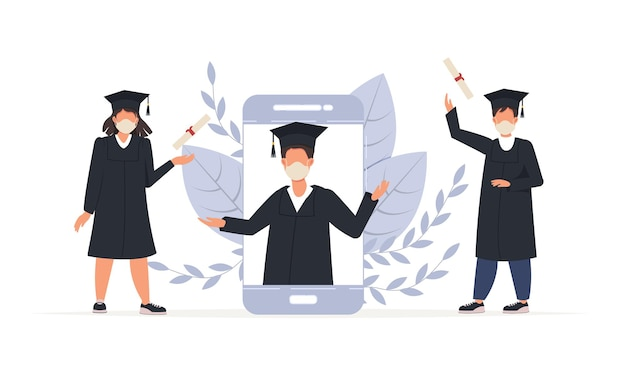 Online graduation ceremony, happy smiling graduate students in smartphone with diploma