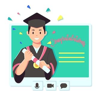 オンライン卒業コンセプトイラスト