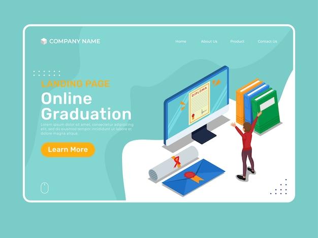Выпускной онлайн или дистанционный выпуск с изометрическим символом и дипломом на экране компьютера. изометрический шаблон иллюстрации целевой страницы.