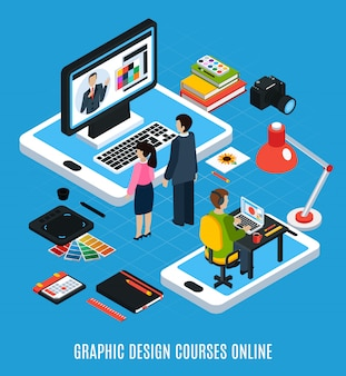 Online graphic design courses isometric concept with students computer tablet swatches books 3d vector illustration