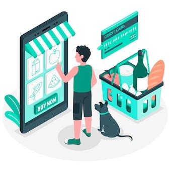 Illustrazione di concetto di generi alimentari online