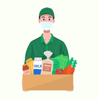 Online grocery concept. delivery man with protective mask delivering food.