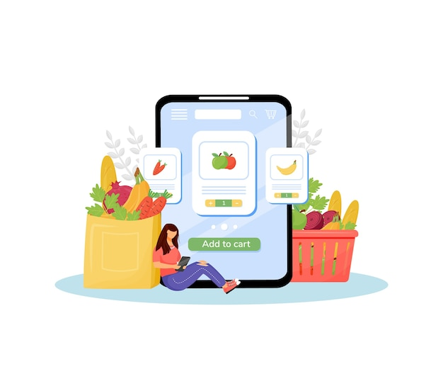 Online grocery flat concept illustration vegetables and fruits buyer female customer with smartphone d cartoon character for web design online veggies ordering and delivery creative idea