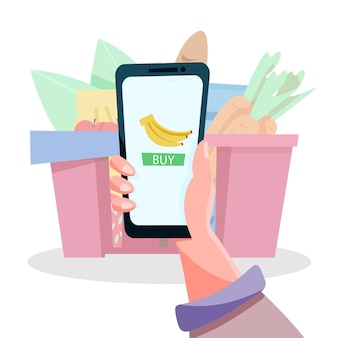 전화로 온라인 식료품 쇼핑