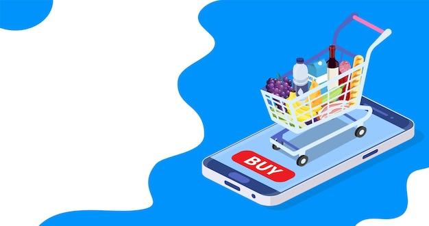 온라인 식료품 쇼핑 개념입니다. 신선한 음식과 음료가 포함된 아이소메트릭 쇼핑 카트. 스마트 폰으로 앱에서 온라인으로 음식, 식료품을 주문하세요. 평면 스타일의 벡터 일러스트 레이 션