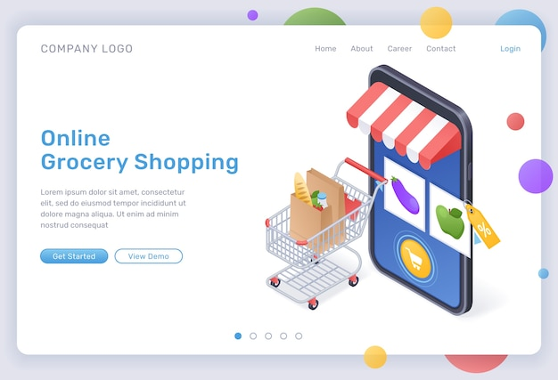 Online grocery shopping isometric landing page, digital store for food purchasing, goods in trolley at huge smartphone with internet market mobile app on screen. cyber shop 3d web banner