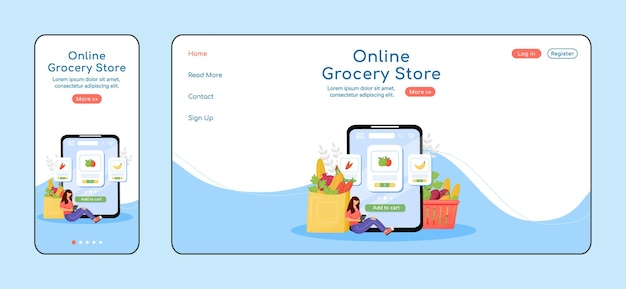 Online grocery store adaptive landing page flat color template. internet order mobile and pc homepage layout. fresh greens one page website ui. fruits and veggies webpage cross platform design.