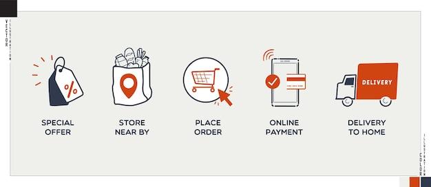 웹 및 응용 프로그램을 위한 온라인 식료품점 아이콘 쇼핑 온라인 프로세스
