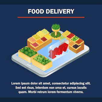Online grocery store isometric banner template