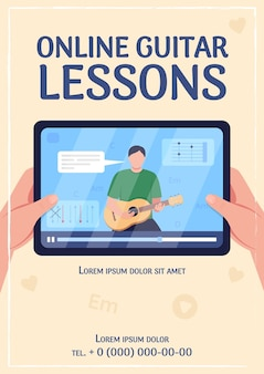 Online guitar lessons poster flat vector template. music tutorial. internet workshop. brochure, booklet one page concept design with cartoon characters. e learning flyer, leaflet with copy space