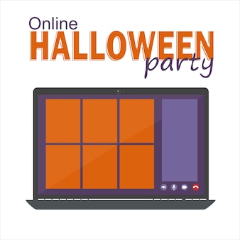온라인 할로윈 파티 개념, 컴퓨터 화면에는 축하할 화상 회의, 화상 통화 템플릿, 평면 벡터 일러스트레이션이 있습니다.