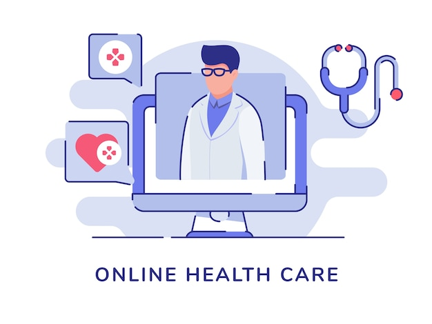 Online health care concept with doctor character computer with flat style