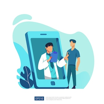 Онлайн-служба здравоохранения и медицинские консультации. концепция диагностической поддержки врача вызова и беседы. шаблон для целевой веб-страницы, баннера, презентации, соцсети, плаката, рекламы, продвижения или печатных сми