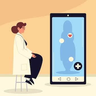 Online health check up female doctor