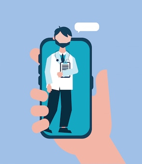 Online health technology with doctor smartphone