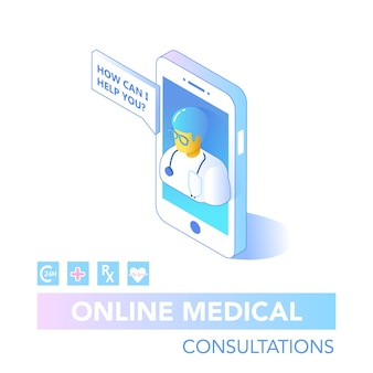Online healthcare isometric concept. medical consultation, diagnostics application on computer, tablet, smartphone. modern medical technology with doctor. vector illustration