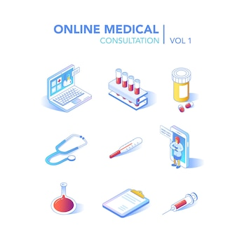 Online healthcare isometric concept. medical consultation, diagnostics application on computer, tablet, smartphone. modern technology with doctor and medical equipment. vector illustration