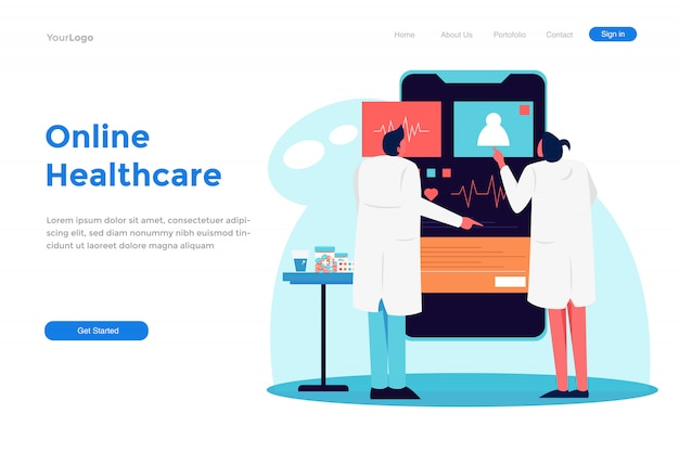 Online healthcare modern flat   illustration