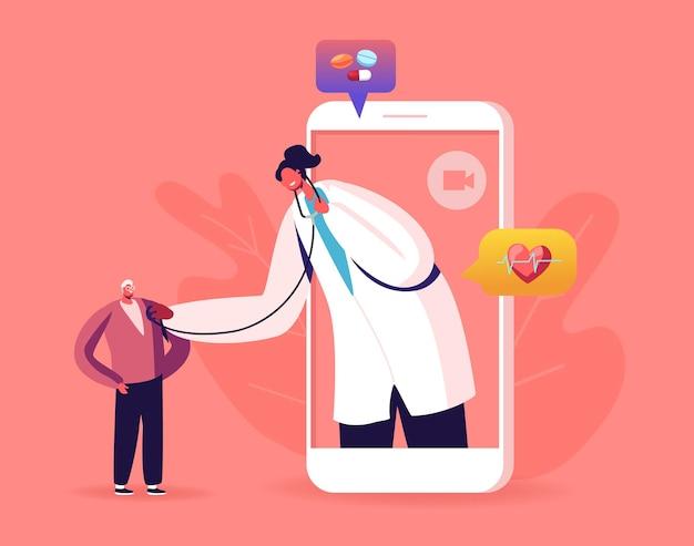オンラインヘルスケアサービス。大きなスマートフォンの画面に白いコートを着た医師のキャラクターが聴診器で患者の心臓の鼓動を聞く