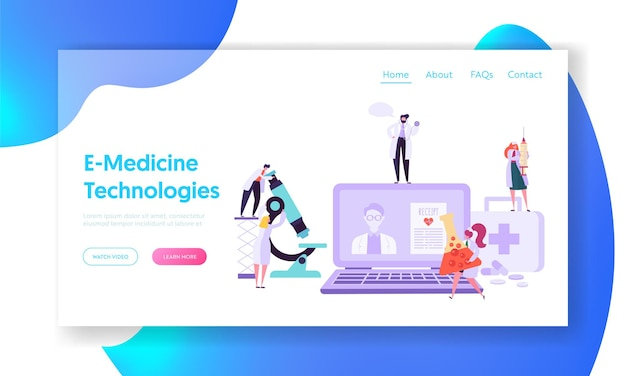 Online healthcare technology concept landing page.