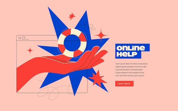 손으로 온라인 도움말 또는 온라인 지원 개념이 화면에서 구명 부표를 내 보냅니다.