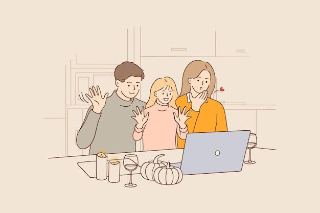 온라인 휴가 축하 및 화상 회의 개념