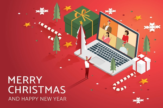 Online holiday party video call group people on laptop decorate with christmas tree gift box star