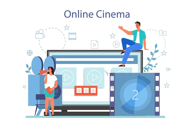 Online home cinema concept. video streaming platform. digital content in the internet. isolated vector illustration